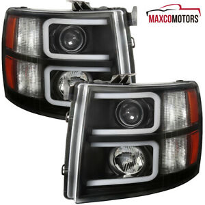 Black For 2007 2013 Chevy Silverado 1500 2500hd Projector Headlights W Led Tube