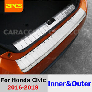 2pcs Inner outer Rear Guard Protector Sill Plate Cover For Honda Civic 2016 2020