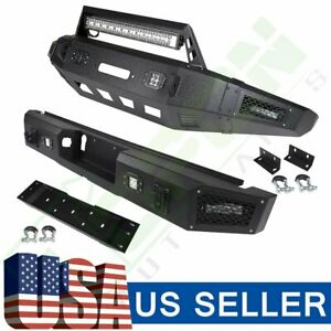For Ford F 150 15 17 Rear Front Bumper Guard Black Assembly Trailer Led Lights