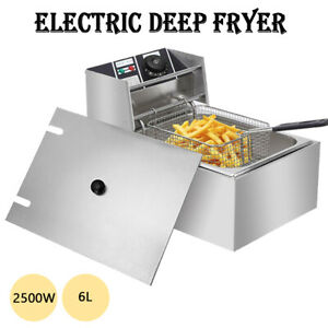 New 2500w 6l Commercial Electric Deep Fryer Restaurant Stainless Steel 6 3qt Us