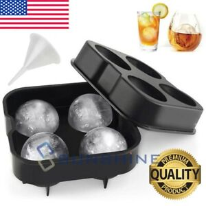 2 Large Round Silicone Ice Cube Ball Maker Tray Sphere Molds Bar Whiskey funnel