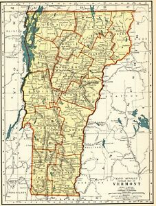 1937 Antique Vermont State Map Original Map Of Vermont Gallery Wall Art Map 7868