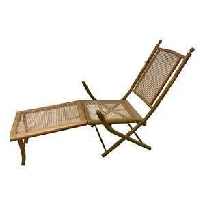 American Folding Caned Chaise Deck Chair