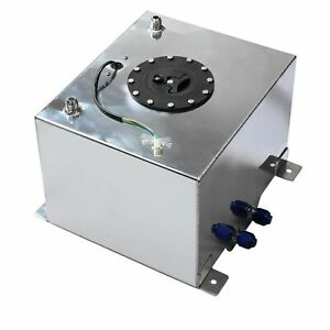 5 Gallon 18 8l Fuel Cell Tank Polished Aluminum Racing Drift W Level Sender