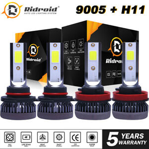 4x Led Headlight Bulbs Conversion Kit 9005 H11 High Low Beam Bright White 6000k