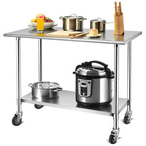 48 24 Stainless Steel Work Table Commercial grade Top W lockable Wheels Silver