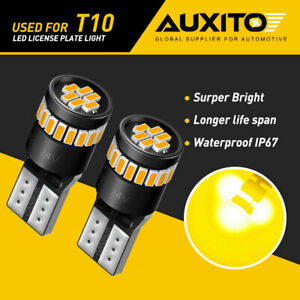 Auxito T10 168 194 2825 Amber Led Bright License Plate Parker Light Bulb Canbus