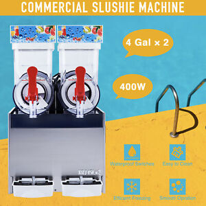 2 X 4 Gal Slushie Maker Commercial Frozen Drink And Cocktail Machine Pc Tanks