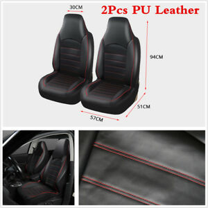 Universal 2 Front Car Seat Covers Pu Leather Black Red For High Back Bucket Seat