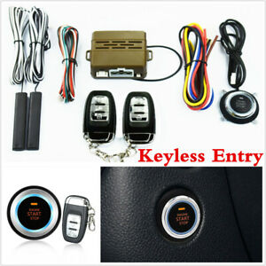 Car Keyless Entry Push Button Remote Engine Start Kit Alarm System Security