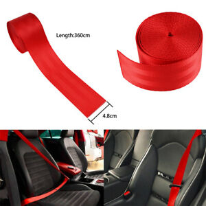 3 6m Auto Car Truck Seat Belt Webbing Retractable Safety Strap Red Universal