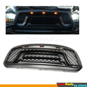 Black Front Bumper Grille Grill W led Lamp Fit For 2013 2014 2015 Dodge Ram 1500