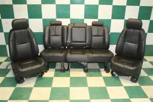 2009 Avalanche Black Leather Dual Power Heated Buckets Backseat Set A95 Oem