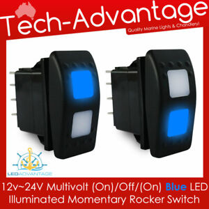 12v 24v Blue Momentary on off on Anchor Winch Windows Carling Style Switch
