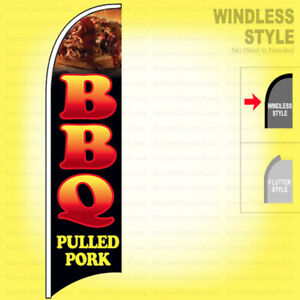 Bbq Pulled Pork Windless Swooper Flag 2 5x11 5 Ft Feather Banner Sign Kb