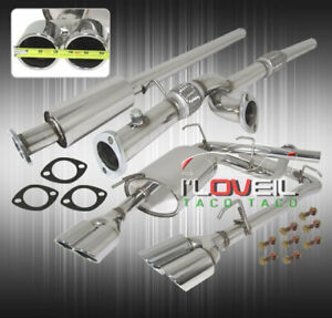 Stainess Steel Catback Exhaust 65mm 3 Dual Muffler Tip For 1991 1999 3000gt