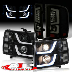 Black Led Drl Headlights Led Smoked Lens Tube Tail Light For 2007 2013 Silverado