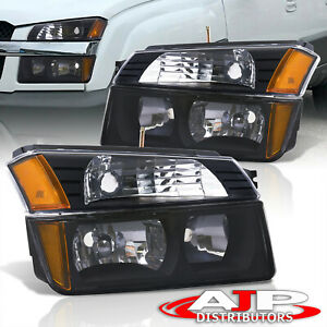 Black Amber Turn Bumper Head Lights Lamps Lh rh For 2002 2006 Avalanche Cladding