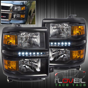 Black Amber Led Drl Headlights Lamps Lh Rh For 2014 2015 Chevy Silverado 1500