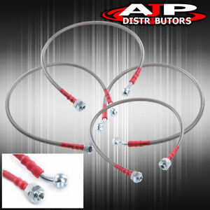 Silver 4pc F r Stainless Steel Racing Brake Line Kit For 2001 2005 Honda Civic