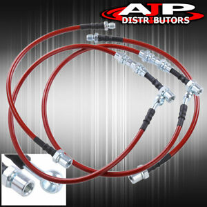 Front Rear Red Stainless Steel Oil Brake Line Cable Black For 1986 1991 Supra