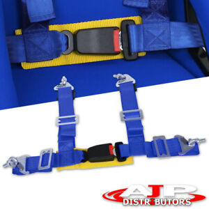 2 4 Point Strap Drift Racing Safety Seat Belt Harness Blue Yellow Quick Lock