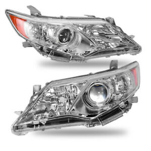 Fits 2012 2014 Toyota Camry Headlights Chrome Factory Style Projector Headlamps