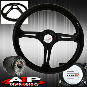 Deep Dish Steering Wheel Black Wood Black Center Hub Adapter For 96 05 Civic