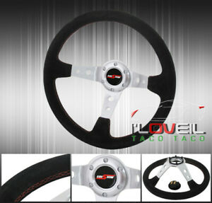 Suede Leather Red Stitching Chrome Godsnow Button Steering Wheel Light Weight