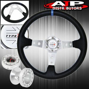 For 86 01 Integra Black Blue Stitches Steering Wheel Adapter Release Type R