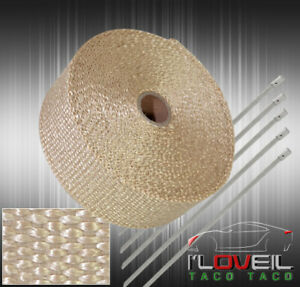 30 Feet Exhaust Header Forced Induction Piping Heat Wrap Cover Stainless Ties