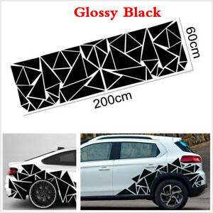 78x 23in Glossy Black Triangles Graphics Car Suv Vinyl Side Body Stickers Decals