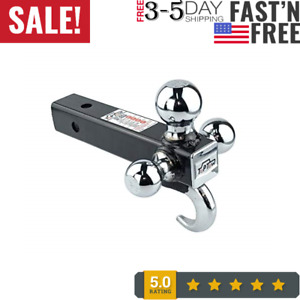 Toptow 64180 Trailer Receiver Hitch Triple Ball Mount With Hook Chrome Balls F
