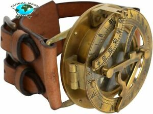 Vintage Nautical Steampunk Sundial Compass Wrist Watch W Leather Bracelet