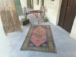 Antique Rug Carpet Vintage Turkish Large Rug Distressed Oushak Rug 6 95 X3 93