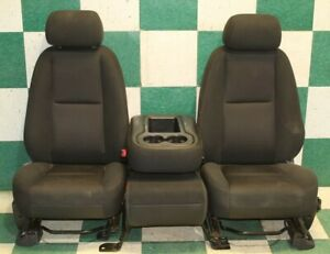 11 13 Gm Truck Black Cloth Manual Front Row Split Bench Seats Center Jumpseat