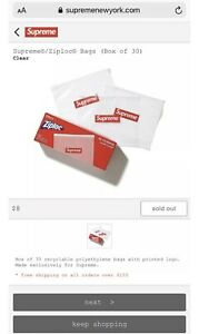 brand New authentic Ss20 Week 17 Supreme Ziploc Bag order Confirmed Ships Fast