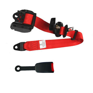 3 Point Adjustable Retractable Car Seat Belt Lap Safety Belt With Warning Cable