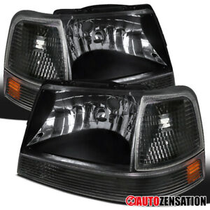 Fits 1998 2000 Ford Ranger Black Headlights corner Signal Lamps amber Pair