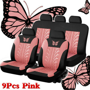 Universal Car Seat Covers Black pink Butterfly Prints For Women Girls Car Truck