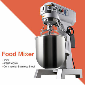 4 5p 15qt Commercial Dough Food Mixer Bakery Gear Driven 3 Speed Pizza Bakery