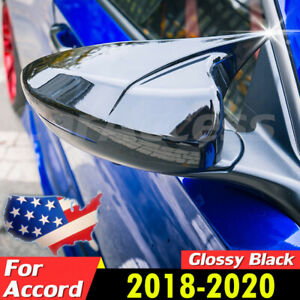 Pair For Honda Accord 2018 2020 Glossy Black Ox Horn Rear View Mirror Cover Trim