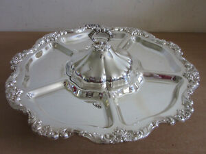 Vintage Poole Old English 5027 Silver Plated 19 5 Lidded Lazy Susan Serving Pc