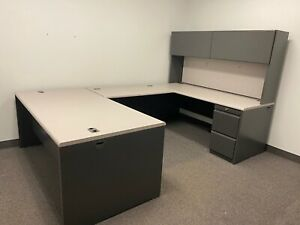 Executive U shape Desk By Hon Office Furniture W Light Gray Laminate Top