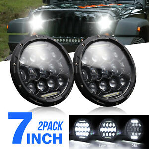 2 pack 7 Round 150w Led Headlight Hi low Sealed Beam For Jeep Wrangl