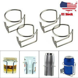 4x Stainless Steel Ring Holders Cup Drink Holder For Marine Yacht Truck Car Boat