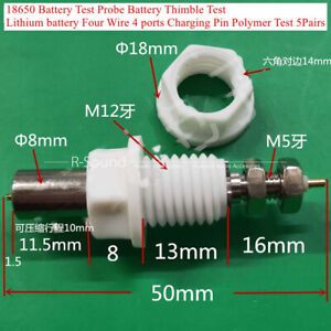 18650 Battery Test Probe Four Wire 4 Ports Charging Pin Polymer Test 5pairs