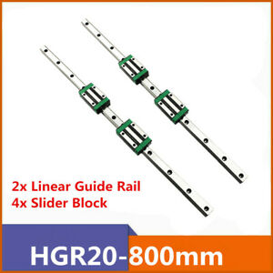2 Set Hgr20 800mm Square Linear Guide Rail With Hgh20ca Slider Block 3d Printer
