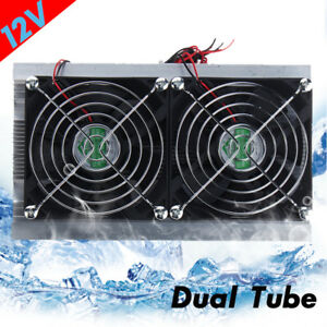 Dc 12v Thermoelectric Peltier Refrigeration Cooling System Kit Cooler Double Fan