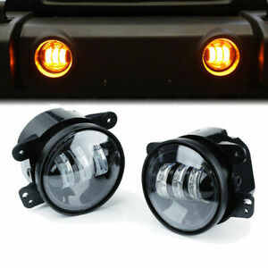Xprite 60w Amber 4 Cree Led Projector Fog Lights Driving Jeep Wrangler